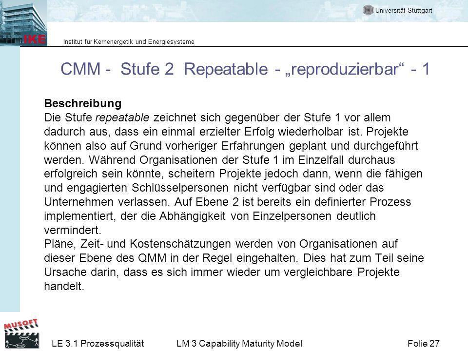 Universität Stuttgart Institut für Kernenergetik und Energiesysteme Folie 27LE 3.1 ProzessqualitätLM 3 Capability Maturity Model CMM - Stufe 2 Repeata