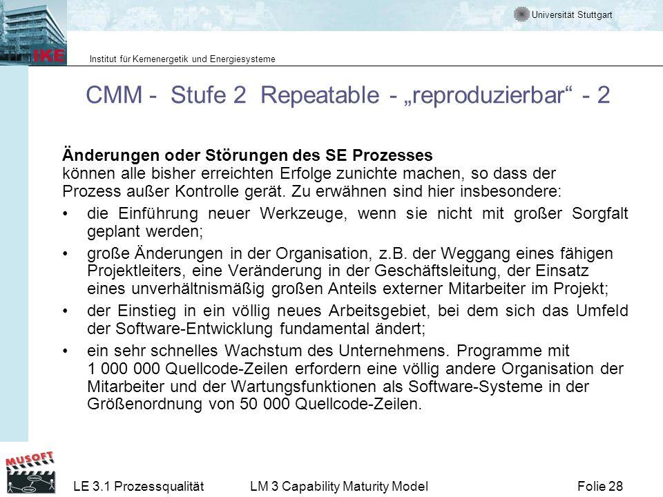 Universität Stuttgart Institut für Kernenergetik und Energiesysteme Folie 28LE 3.1 ProzessqualitätLM 3 Capability Maturity Model CMM - Stufe 2 Repeata
