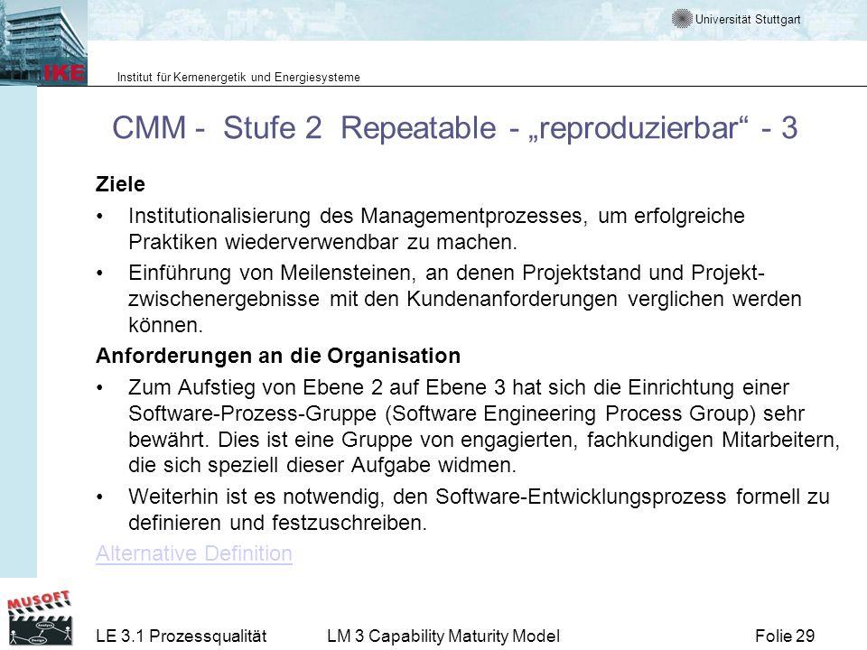 Universität Stuttgart Institut für Kernenergetik und Energiesysteme Folie 29LE 3.1 ProzessqualitätLM 3 Capability Maturity Model CMM - Stufe 2 Repeata