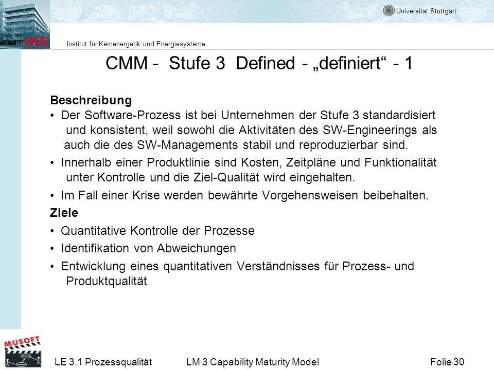 Universität Stuttgart Institut für Kernenergetik und Energiesysteme Folie 30LE 3.1 ProzessqualitätLM 3 Capability Maturity Model CMM - Stufe 3 Defined