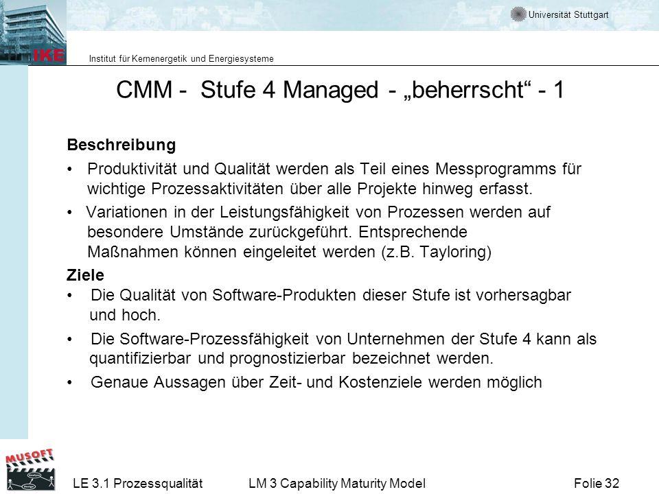 Universität Stuttgart Institut für Kernenergetik und Energiesysteme Folie 32LE 3.1 ProzessqualitätLM 3 Capability Maturity Model CMM - Stufe 4 Managed
