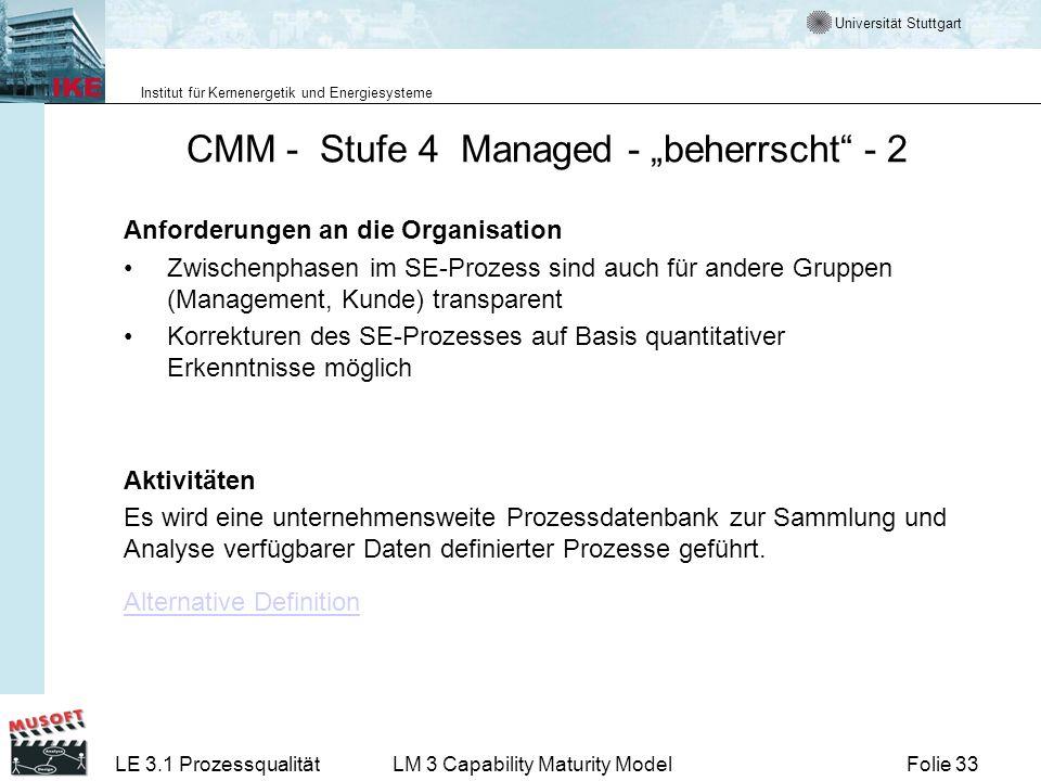 Universität Stuttgart Institut für Kernenergetik und Energiesysteme Folie 33LE 3.1 ProzessqualitätLM 3 Capability Maturity Model CMM - Stufe 4 Managed