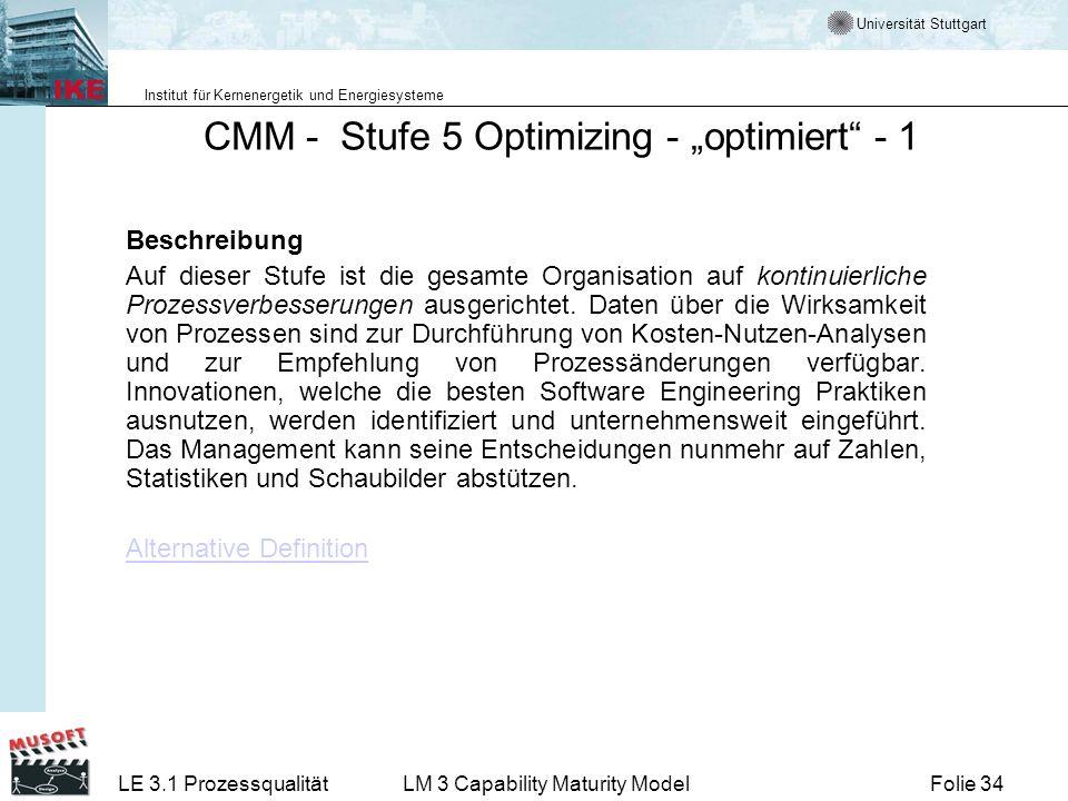 Universität Stuttgart Institut für Kernenergetik und Energiesysteme Folie 34LE 3.1 ProzessqualitätLM 3 Capability Maturity Model CMM - Stufe 5 Optimiz