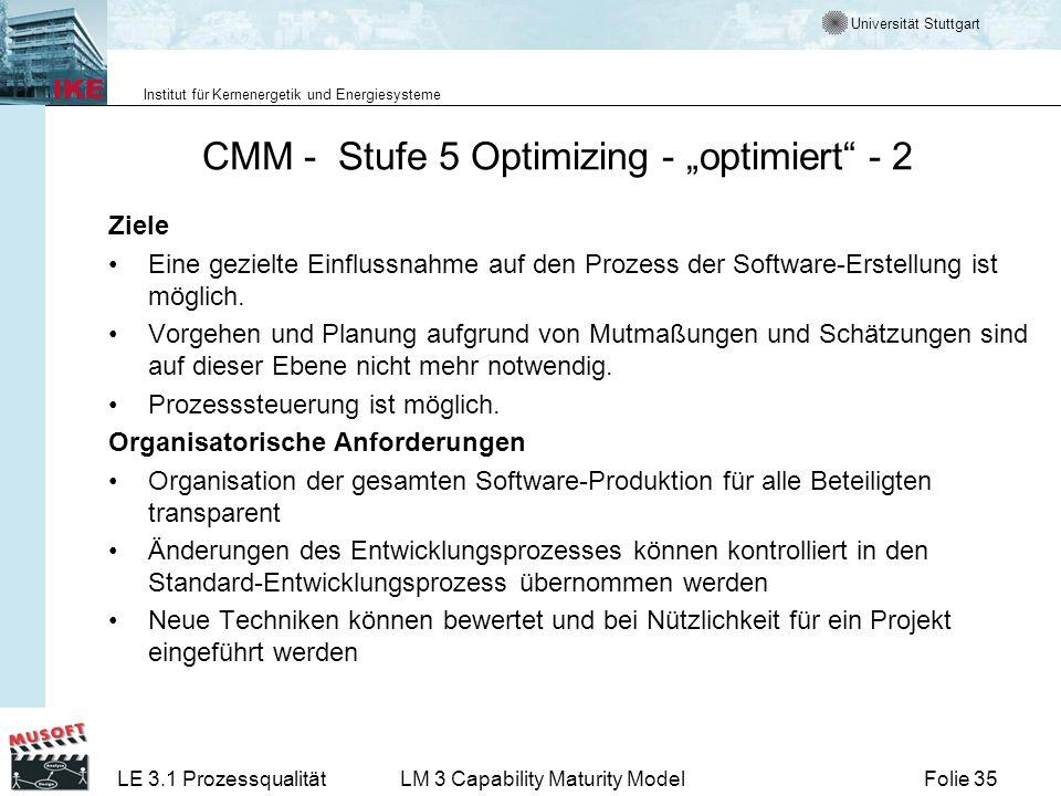 Universität Stuttgart Institut für Kernenergetik und Energiesysteme Folie 35LE 3.1 ProzessqualitätLM 3 Capability Maturity Model CMM - Stufe 5 Optimiz
