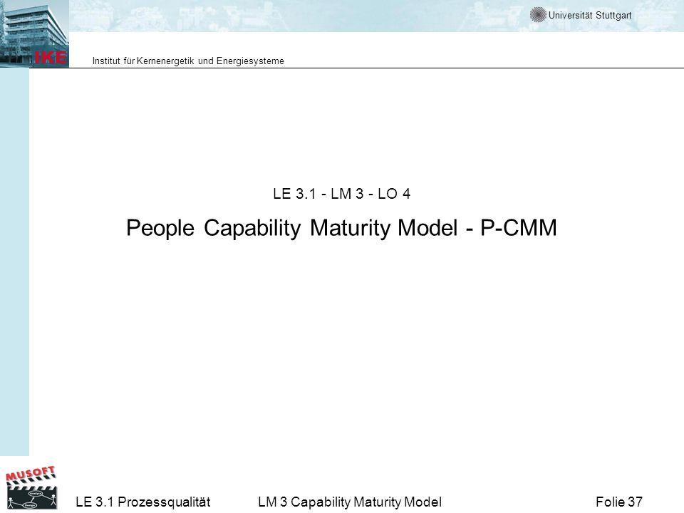Universität Stuttgart Institut für Kernenergetik und Energiesysteme Folie 37LE 3.1 ProzessqualitätLM 3 Capability Maturity Model LE 3.1 - LM 3 - LO 4