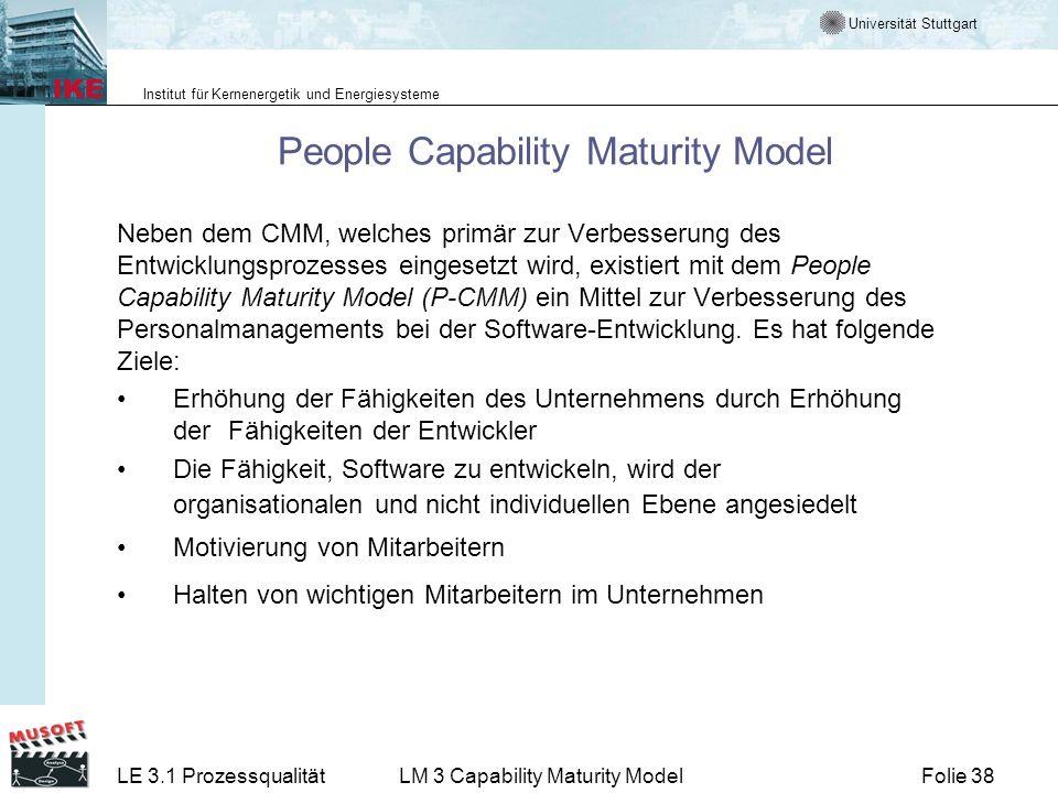 Universität Stuttgart Institut für Kernenergetik und Energiesysteme Folie 38LE 3.1 ProzessqualitätLM 3 Capability Maturity Model People Capability Mat