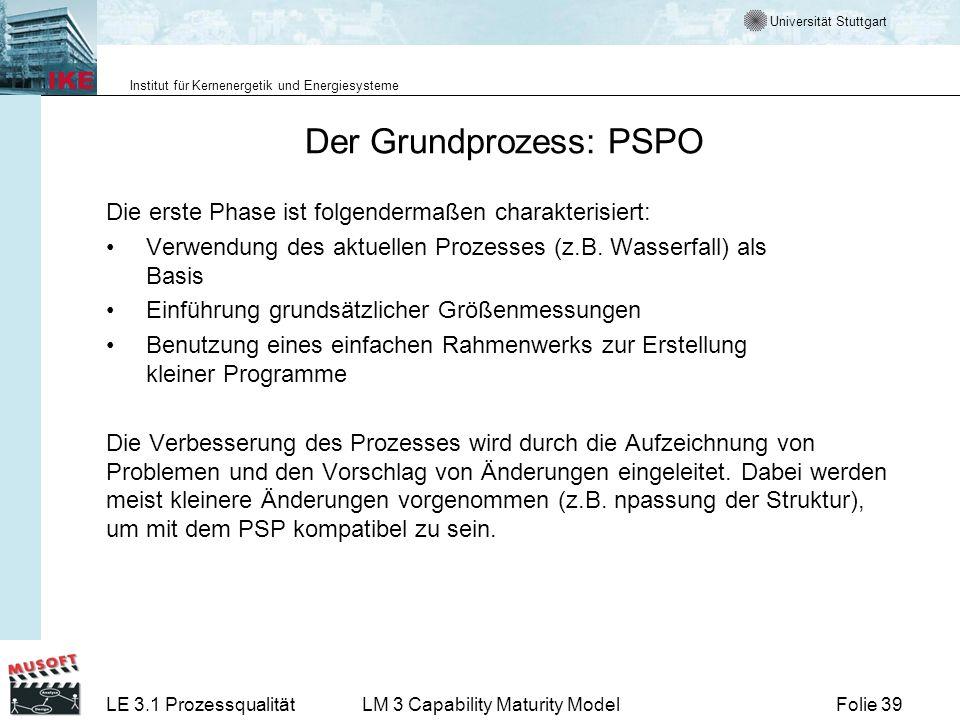 Universität Stuttgart Institut für Kernenergetik und Energiesysteme Folie 39LE 3.1 ProzessqualitätLM 3 Capability Maturity Model Der Grundprozess: PSP