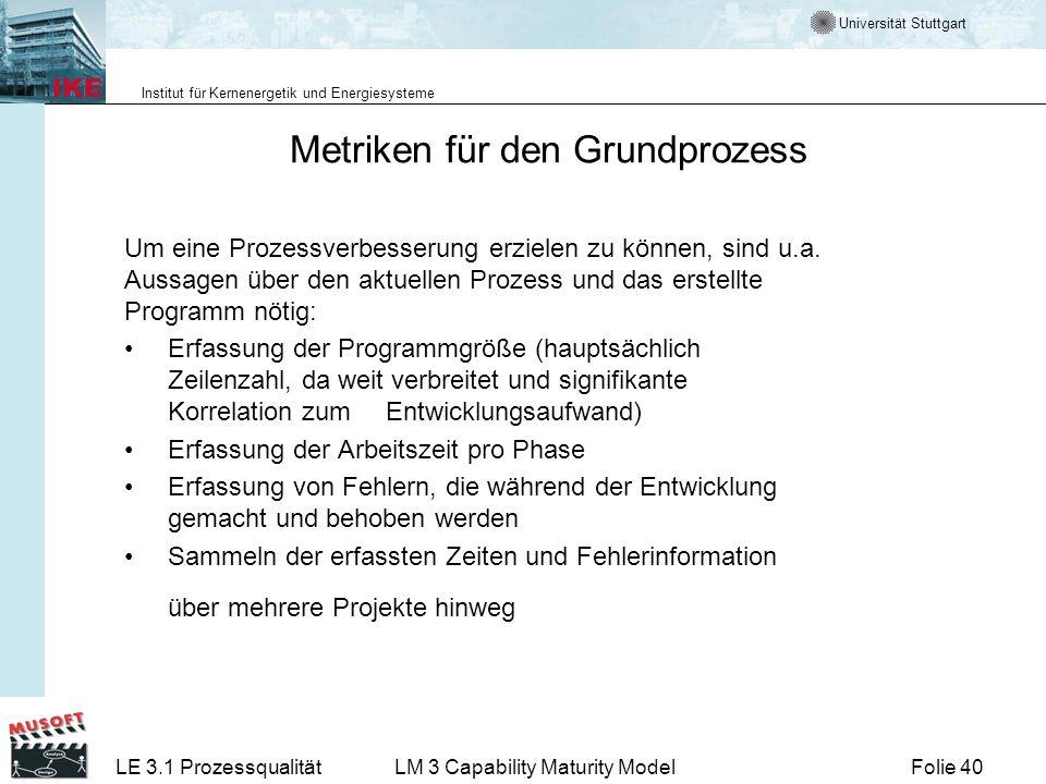 Universität Stuttgart Institut für Kernenergetik und Energiesysteme Folie 40LE 3.1 ProzessqualitätLM 3 Capability Maturity Model Metriken für den Grun