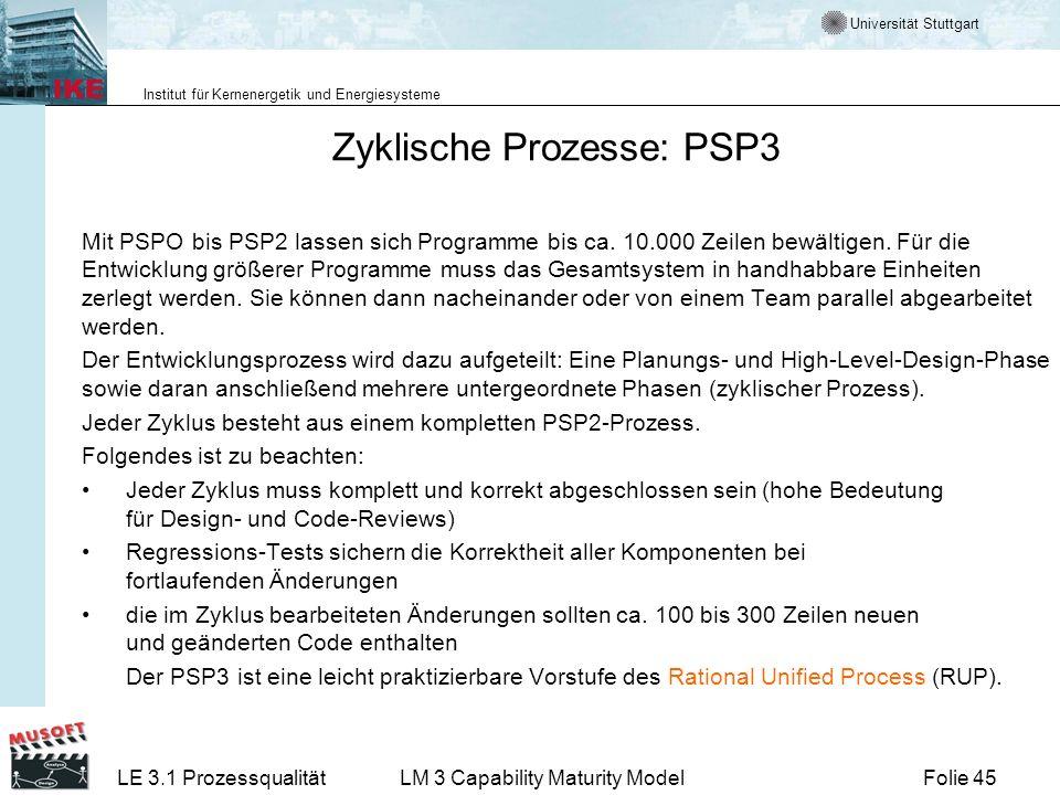 Universität Stuttgart Institut für Kernenergetik und Energiesysteme Folie 45LE 3.1 ProzessqualitätLM 3 Capability Maturity Model Zyklische Prozesse: P