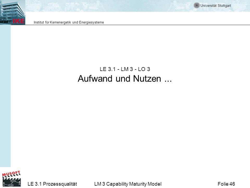 Universität Stuttgart Institut für Kernenergetik und Energiesysteme Folie 46LE 3.1 ProzessqualitätLM 3 Capability Maturity Model LE 3.1 - LM 3 - LO 3