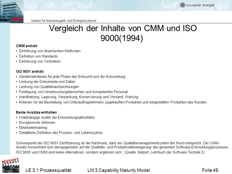 Universität Stuttgart Institut für Kernenergetik und Energiesysteme Folie 49LE 3.1 ProzessqualitätLM 3 Capability Maturity Model Vergleich der Inhalte