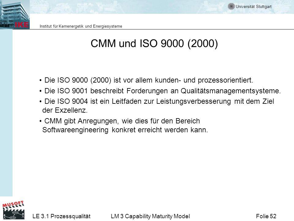 Universität Stuttgart Institut für Kernenergetik und Energiesysteme Folie 52LE 3.1 ProzessqualitätLM 3 Capability Maturity Model CMM und ISO 9000 (200
