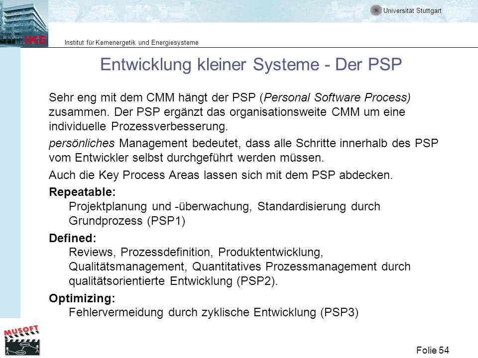 Universität Stuttgart Institut für Kernenergetik und Energiesysteme Folie 54 Entwicklung kleiner Systeme - Der PSP Sehr eng mit dem CMM hängt der PSP
