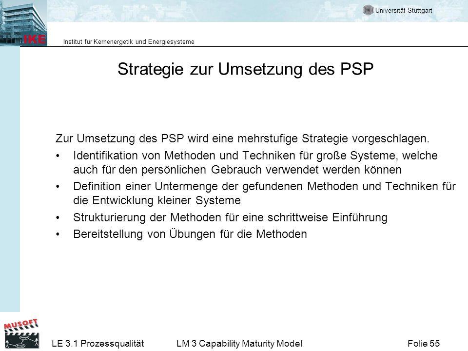Universität Stuttgart Institut für Kernenergetik und Energiesysteme Folie 55LE 3.1 ProzessqualitätLM 3 Capability Maturity Model Strategie zur Umsetzu