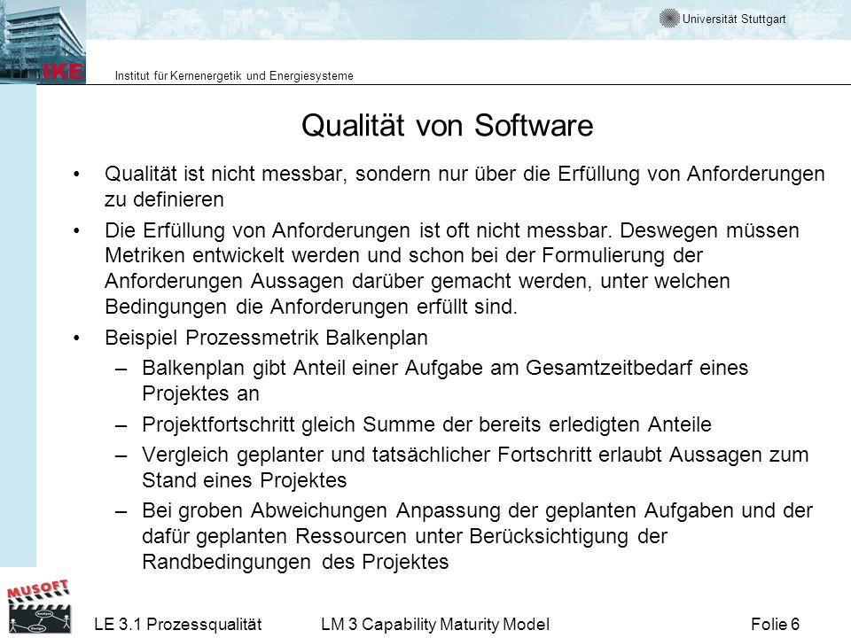 Universität Stuttgart Institut für Kernenergetik und Energiesysteme Folie 6LE 3.1 ProzessqualitätLM 3 Capability Maturity Model Qualität von Software