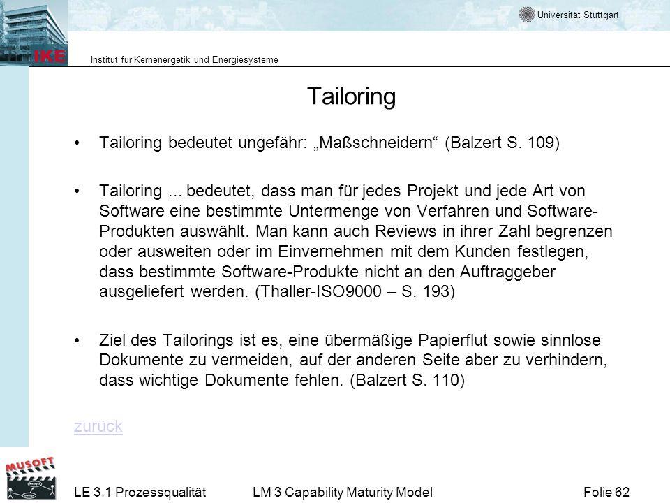 Universität Stuttgart Institut für Kernenergetik und Energiesysteme Folie 62LE 3.1 ProzessqualitätLM 3 Capability Maturity Model Tailoring Tailoring b
