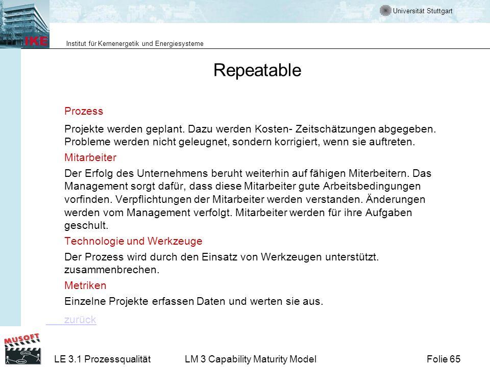 Universität Stuttgart Institut für Kernenergetik und Energiesysteme Folie 65LE 3.1 ProzessqualitätLM 3 Capability Maturity Model Repeatable Prozess Pr