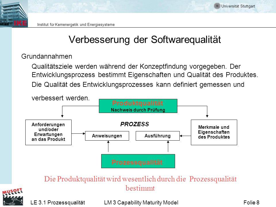 Universität Stuttgart Institut für Kernenergetik und Energiesysteme Folie 8LE 3.1 ProzessqualitätLM 3 Capability Maturity Model Verbesserung der Softw
