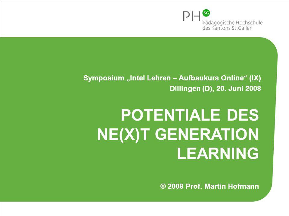 22 Pädagogische Hochschule des Kantons St.Gallen Döbeli Honegger, Beat (2007): Mit digital natives kollaborativ zusammenarbeiten.
