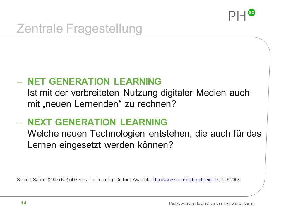 14 Pädagogische Hochschule des Kantons St.Gallen Zentrale Fragestellung NET GENERATION LEARNING Ist mit der verbreiteten Nutzung digitaler Medien auch