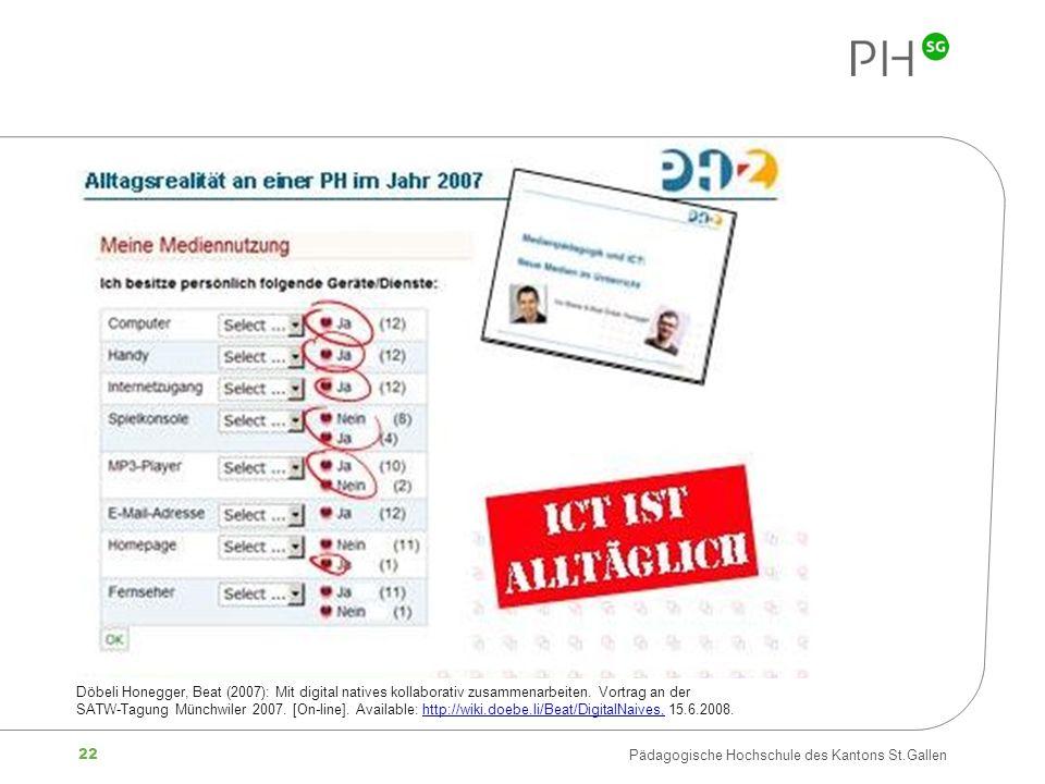 22 Pädagogische Hochschule des Kantons St.Gallen Döbeli Honegger, Beat (2007): Mit digital natives kollaborativ zusammenarbeiten. Vortrag an der SATW-