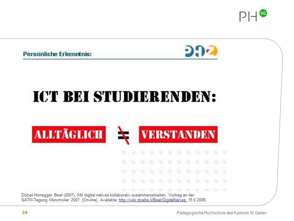 24 Pädagogische Hochschule des Kantons St.Gallen Döbeli Honegger, Beat (2007): Mit digital natives kollaborativ zusammenarbeiten. Vortrag an der SATW-