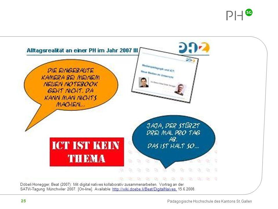 25 Pädagogische Hochschule des Kantons St.Gallen Döbeli Honegger, Beat (2007): Mit digital natives kollaborativ zusammenarbeiten. Vortrag an der SATW-