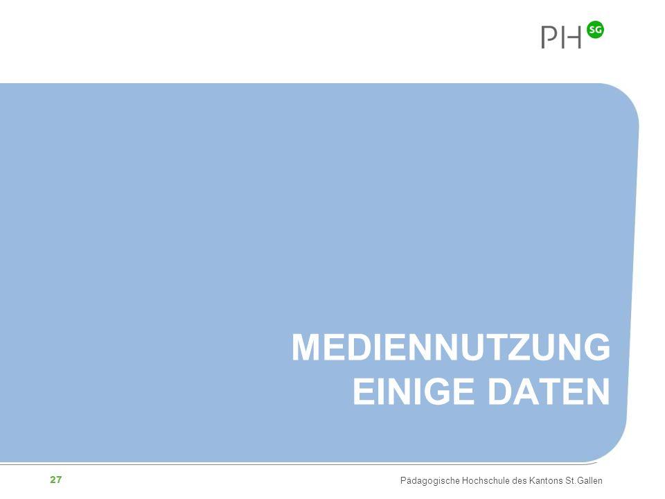 27 Pädagogische Hochschule des Kantons St.Gallen MEDIENNUTZUNG EINIGE DATEN