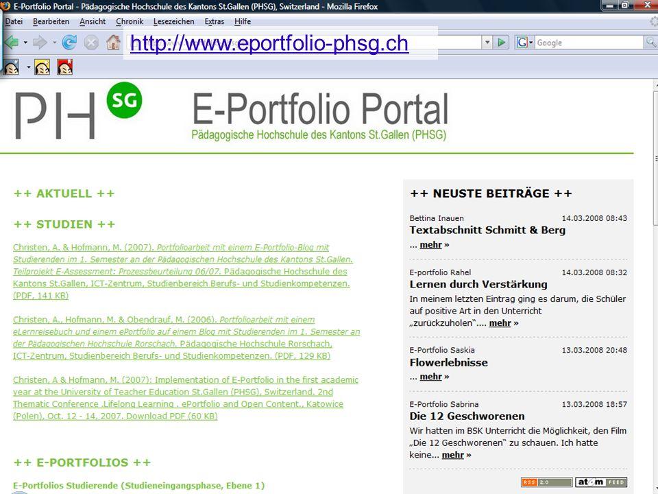 37 Pädagogische Hochschule des Kantons St.Gallen http://www.eportfolio-phsg.ch