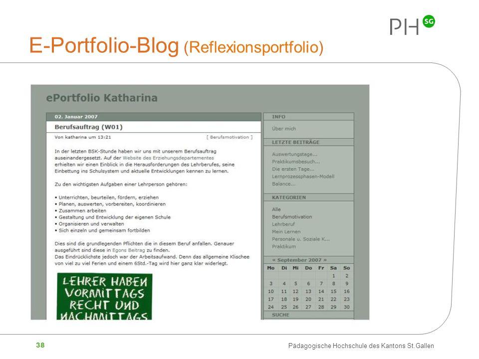 38 Pädagogische Hochschule des Kantons St.Gallen E-Portfolio-Blog (Reflexionsportfolio)