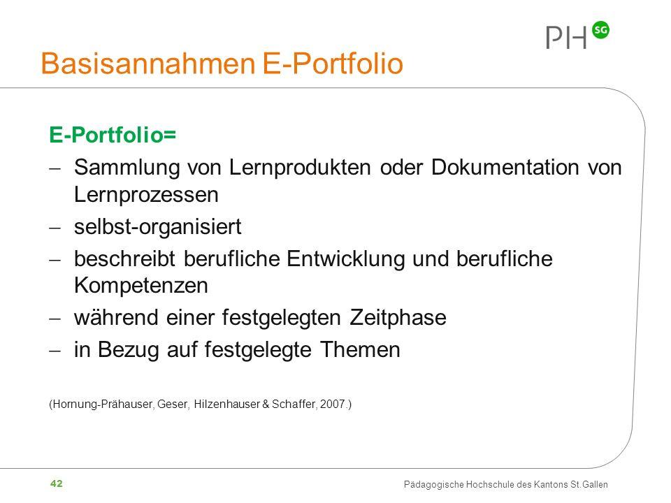 42 Pädagogische Hochschule des Kantons St.Gallen Basisannahmen E-Portfolio E-Portfolio= Sammlung von Lernprodukten oder Dokumentation von Lernprozesse