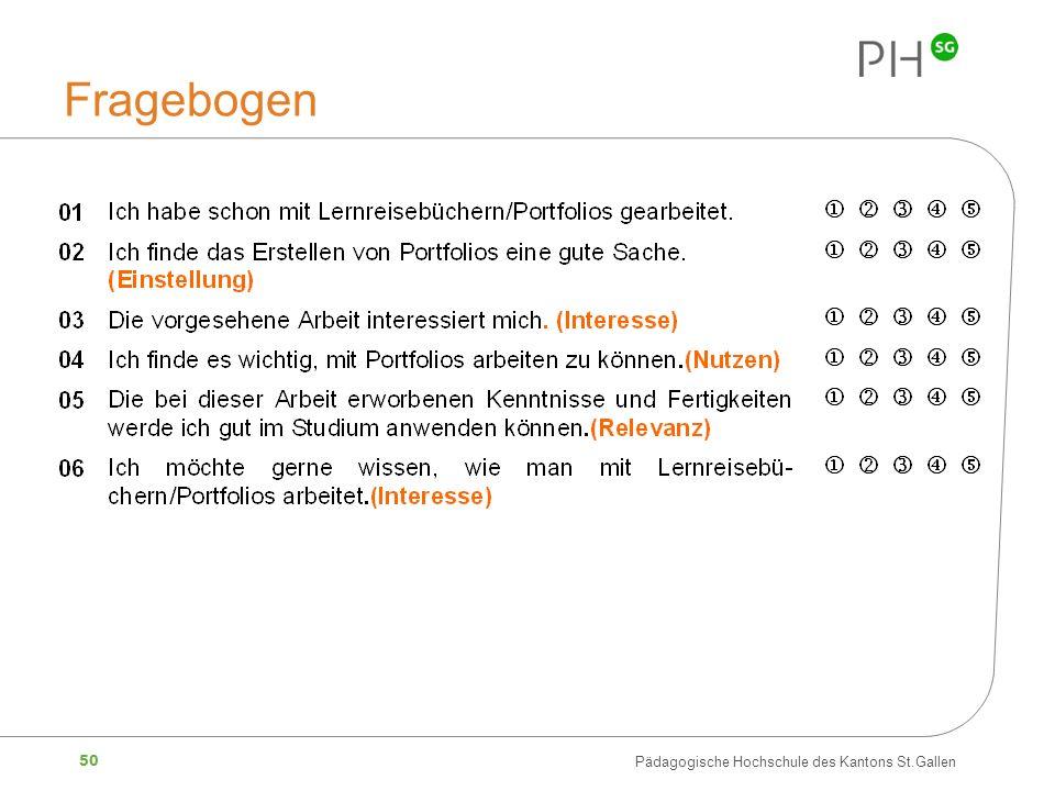 50 Pädagogische Hochschule des Kantons St.Gallen Fragebogen