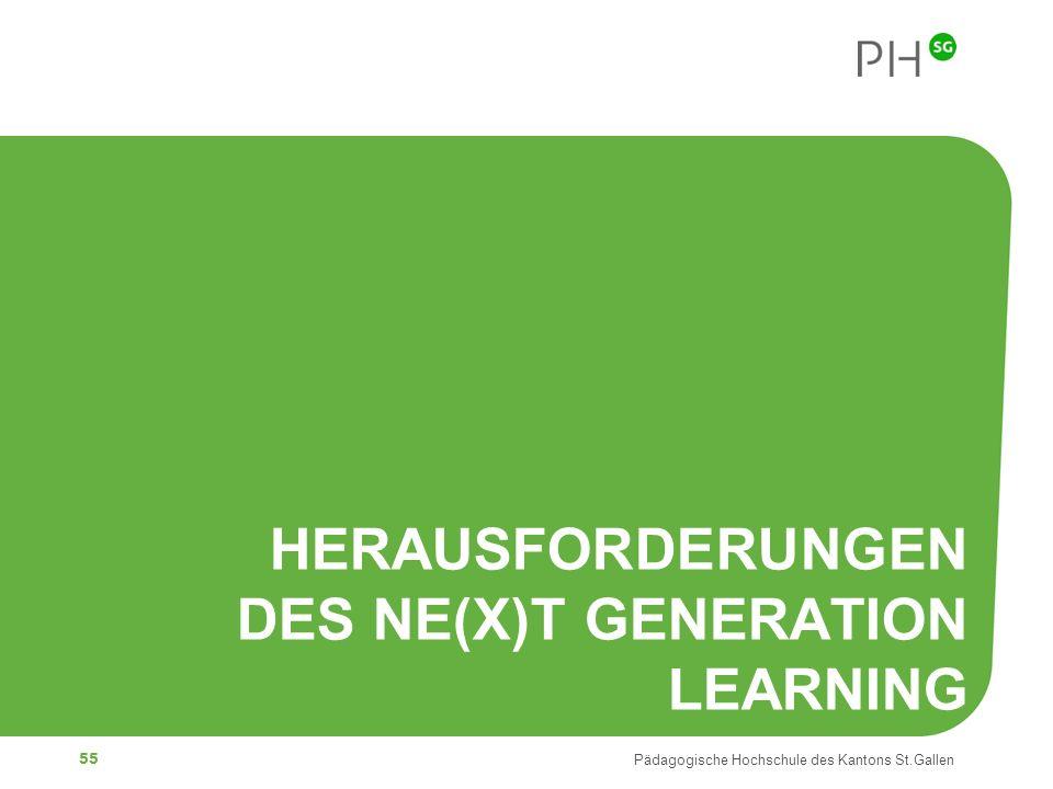 55 Pädagogische Hochschule des Kantons St.Gallen HERAUSFORDERUNGEN DES NE(X)T GENERATION LEARNING
