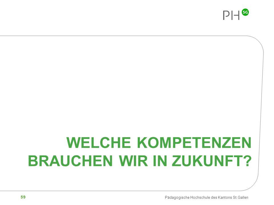 59 Pädagogische Hochschule des Kantons St.Gallen WELCHE KOMPETENZEN BRAUCHEN WIR IN ZUKUNFT?