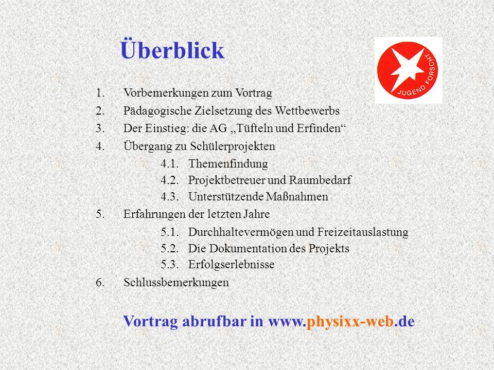 Folgende Einstiegshilfen haben sich bewährt: Jugend forscht – der Film (bei Stiftung JuFo anfordern!) Liste von Altthemen bzw.