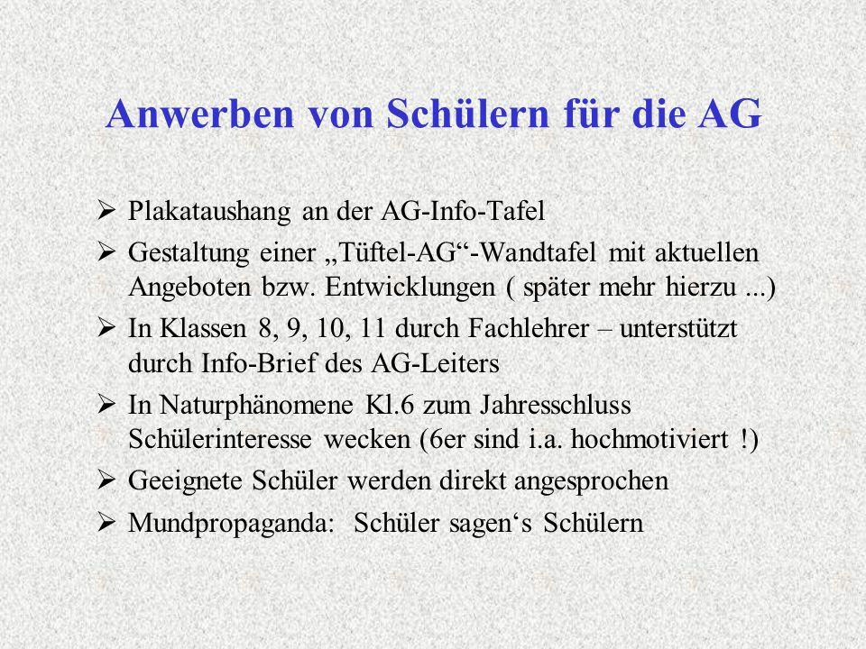 Anwerben von Schülern für die AG Plakataushang an der AG-Info-Tafel Gestaltung einer Tüftel-AG-Wandtafel mit aktuellen Angeboten bzw. Entwicklungen (
