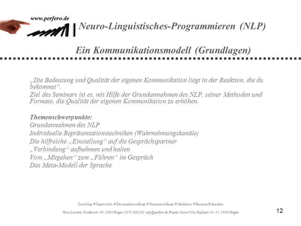 12 Neuro-Linguistisches-Programmieren (NLP) Ein Kommunikationsmodell (Grundlagen) Die Bedeutung und Qualität der eigenen Kommunikation liegt in der Re