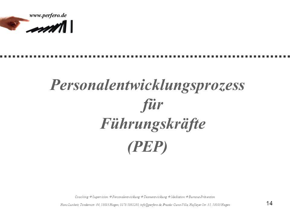 14 Personalentwicklungsprozess für Führungskräfte (PEP) Coaching Supervision Personalentwicklung Teamentwicklung Mediation Burnout-Prävention Hans Lun