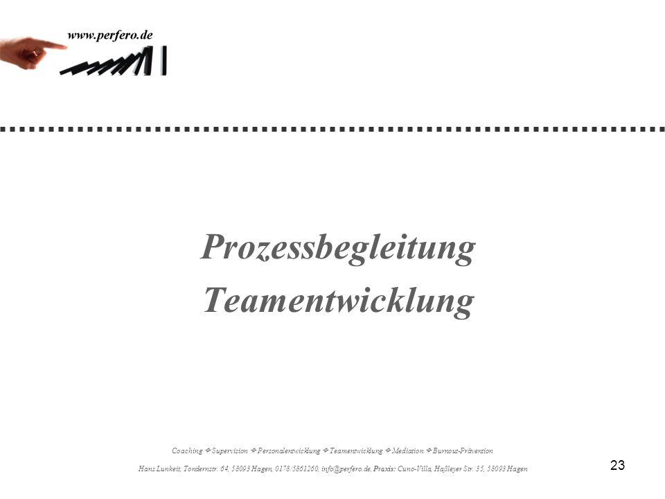 23 Prozessbegleitung Teamentwicklung Coaching Supervision Personalentwicklung Teamentwicklung Mediation Burnout-Prävention Hans Lunkeit, Tondernstr. 6
