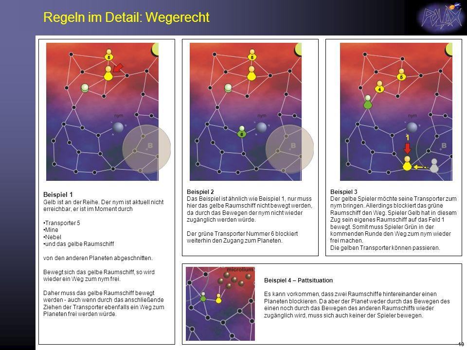 19 Regeln im Detail: Wegerecht Beispiel 1 Gelb ist an der Reihe. Der nym ist aktuell nicht erreichbar, er ist im Moment durch Transporter 5 Mine Nebel