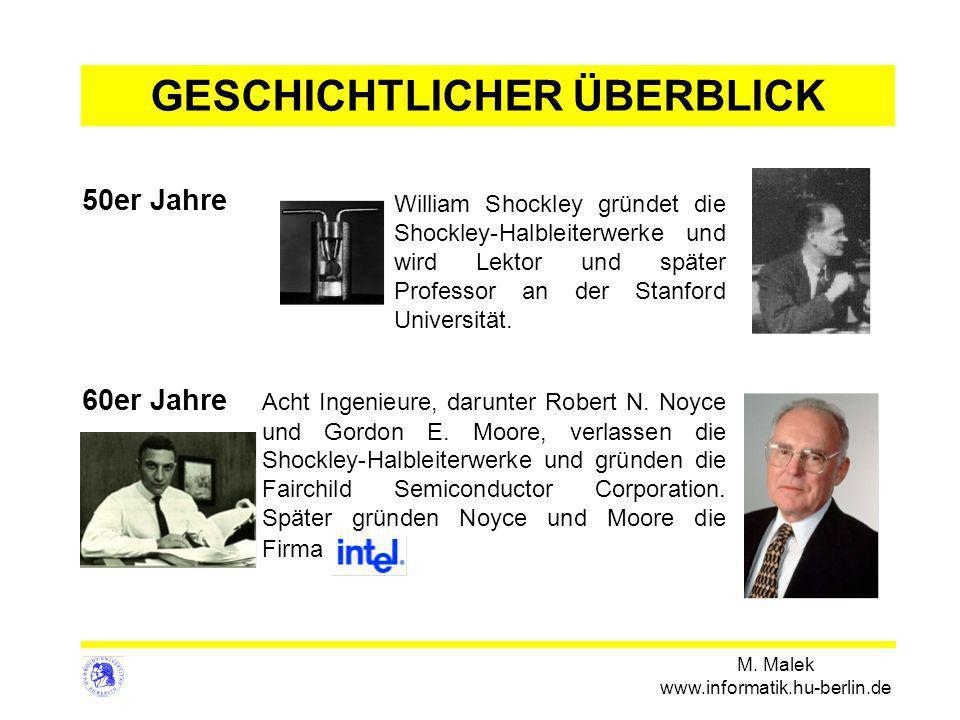 M. Malek www.informatik.hu-berlin.de 50er Jahre William Shockley gründet die Shockley-Halbleiterwerke und wird Lektor und später Professor an der Stan