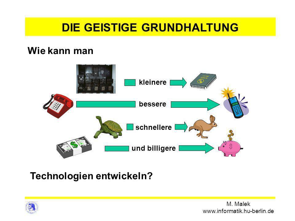 M. Malek www.informatik.hu-berlin.de Technologien entwickeln? DIE GEISTIGE GRUNDHALTUNG Wie kann man bessere und billigere schnellere kleinere