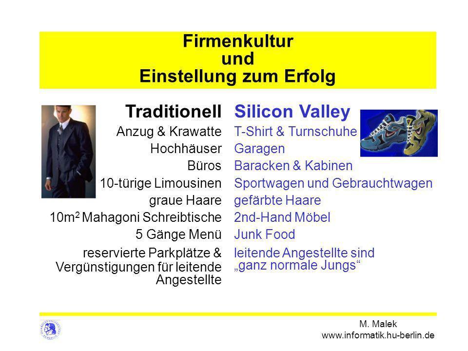 M. Malek www.informatik.hu-berlin.de Firmenkultur und Einstellung zum Erfolg Traditionell Anzug & Krawatte Hochhäuser Büros 10-türige Limousinen graue