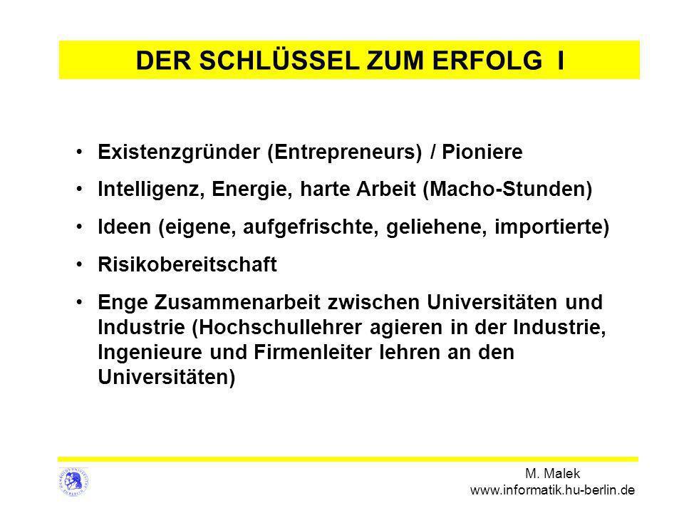 M. Malek www.informatik.hu-berlin.de Existenzgründer (Entrepreneurs) / Pioniere Intelligenz, Energie, harte Arbeit (Macho-Stunden) Ideen (eigene, aufg