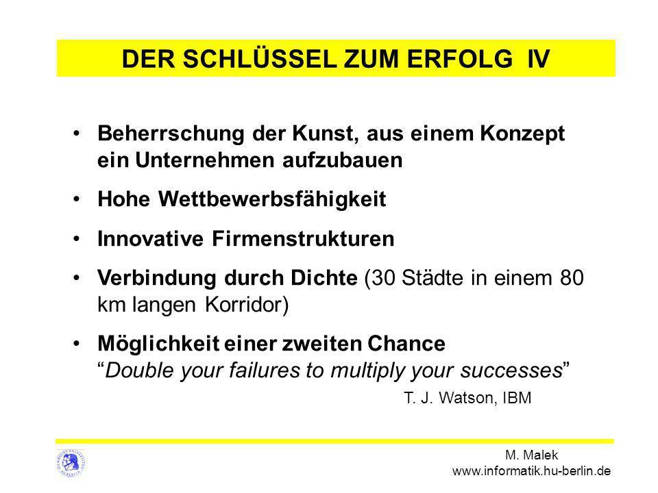 M. Malek www.informatik.hu-berlin.de DER SCHLÜSSEL ZUM ERFOLG IV Beherrschung der Kunst, aus einem Konzept ein Unternehmen aufzubauen Hohe Wettbewerbs