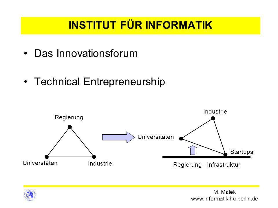 M. Malek www.informatik.hu-berlin.de INSTITUT FÜR INFORMATIK Das Innovationsforum Technical Entrepreneurship Universtäten Regierung Industrie Universi