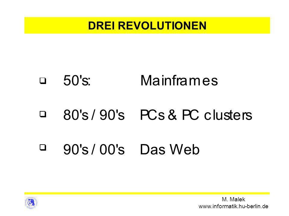 M. Malek www.informatik.hu-berlin.de 50's:Mainframes 80's/90'sPCs&PCclusters 90's/00'sDas Web DREI REVOLUTIONEN
