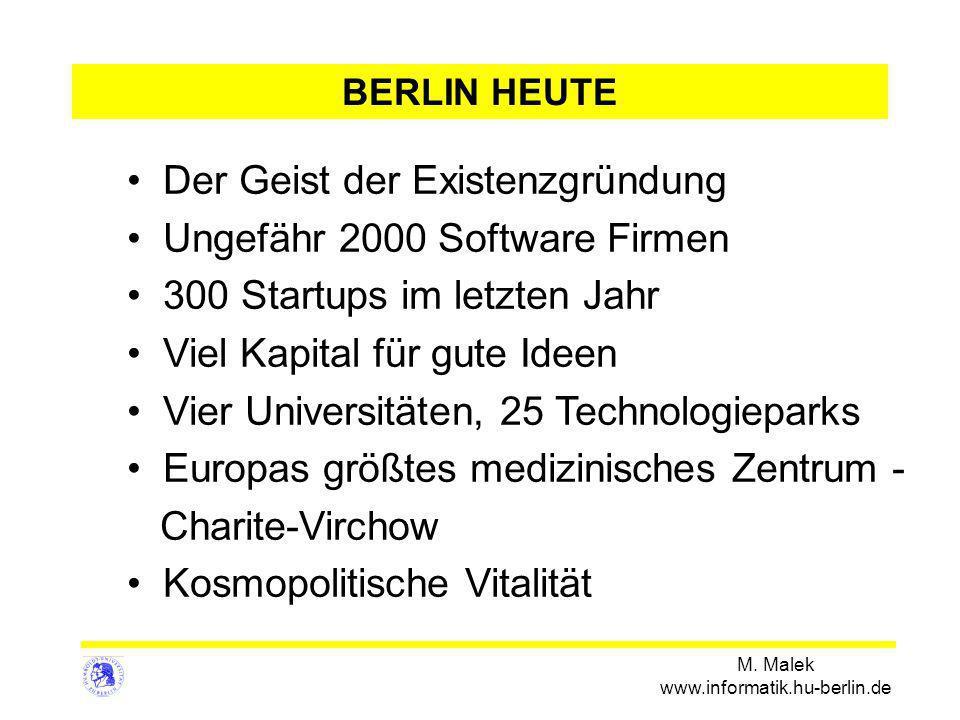 M. Malek www.informatik.hu-berlin.de BERLIN HEUTE Der Geist der Existenzgründung Ungefähr 2000 Software Firmen 300 Startups im letzten Jahr Viel Kapit