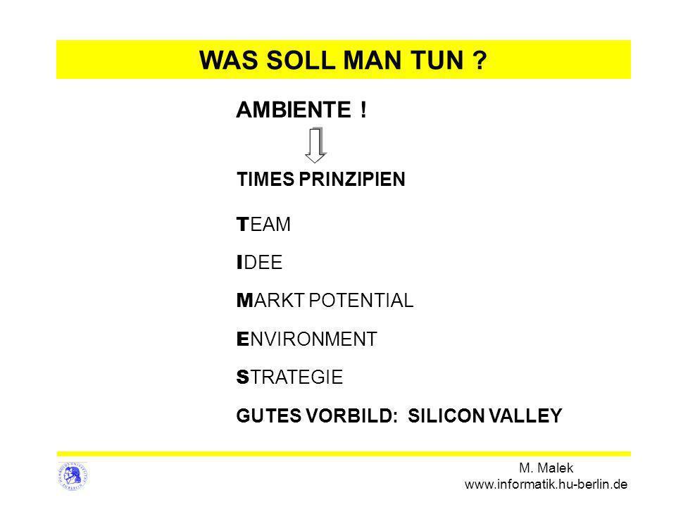 M. Malek www.informatik.hu-berlin.de WAS SOLL MAN TUN ? AMBIENTE ! TIMES PRINZIPIEN T EAM I DEE M ARKT POTENTIAL E NVIRONMENT S TRATEGIE GUTES VORBILD