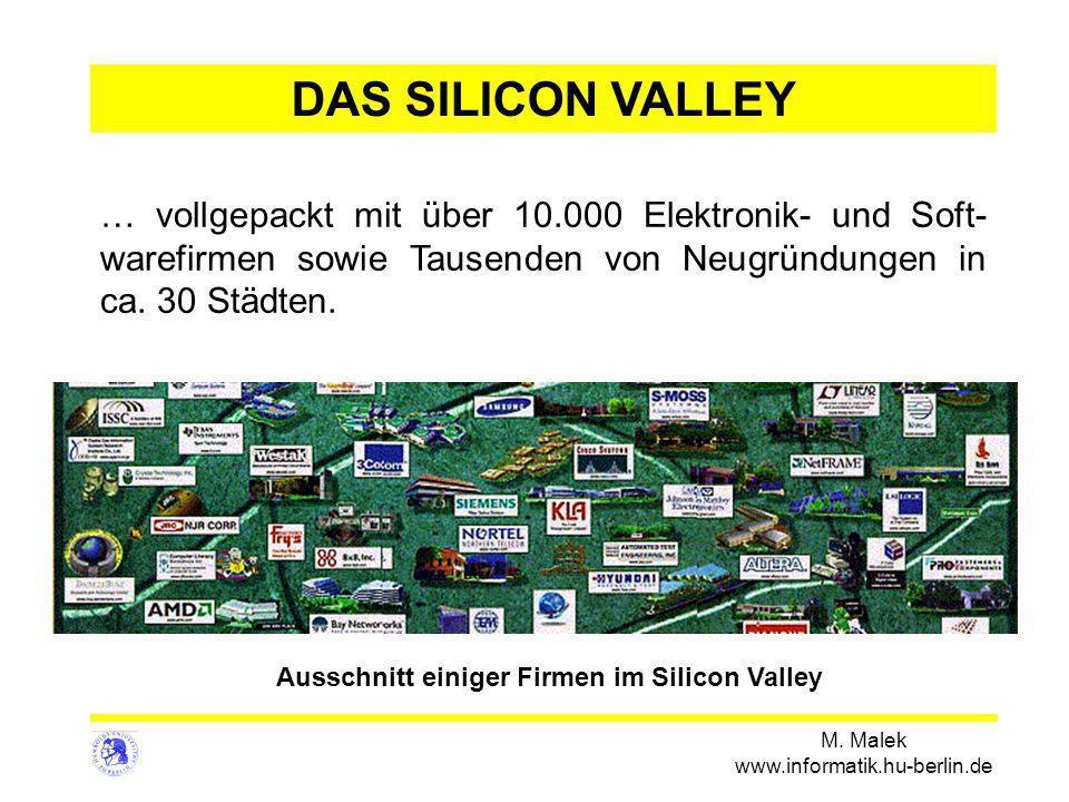 M. Malek www.informatik.hu-berlin.de … vollgepackt mit über 10.000 Elektronik- und Soft- warefirmen sowie Tausenden von Neugründungen in ca. 30 Städte